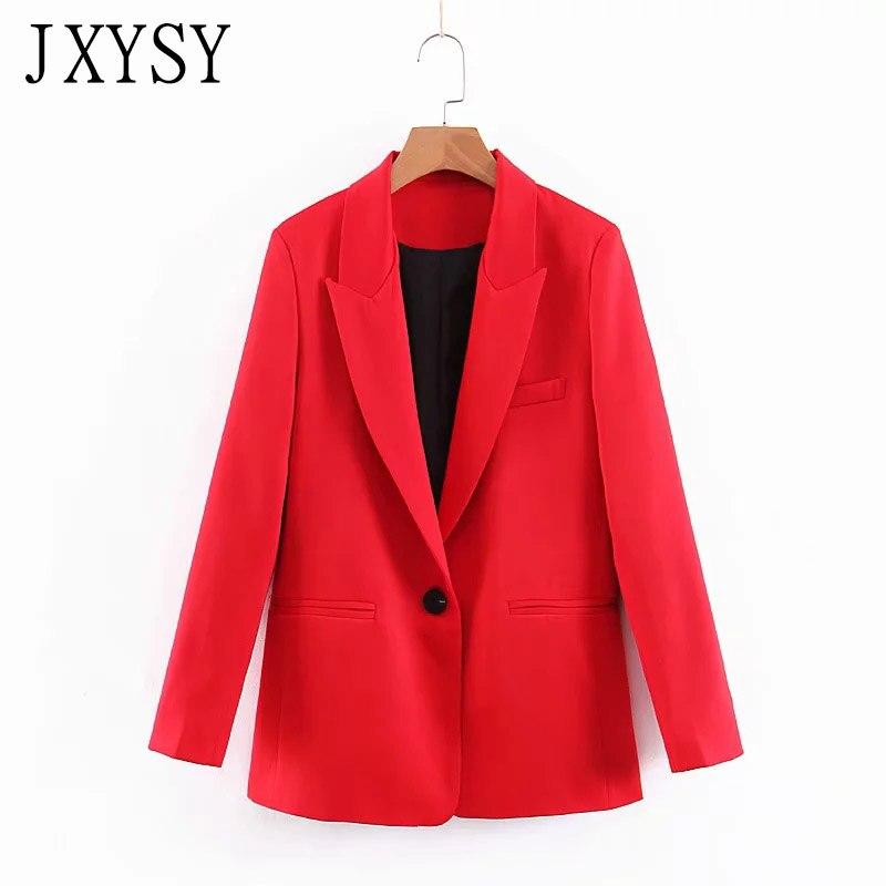JXYSY Za Women Elegant Blazer And Jackets Single Button Pockets Long Sleeve Red Female Casual Coats Blazer feminino Chic Tops