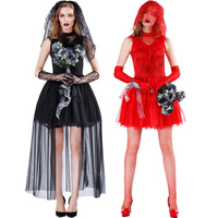 Woman Halloween Cosplay Costume Scary Zombie Bride Mesh Lace Dress Fancy Carnival Masquerade Lady Elegant Vampire Costumes