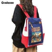 Gradosoo Cartoon Backpack Women School Panelled Travel Female Large Capacity Schoolbag For Girl Fashion LBF614