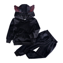 Kids Clothes Sets Winter Toddler Boy Clothes Baby Girl Outfit Long Sleeve Gold Velvet Girls Sport Suit Children Clothing Boy Set цена 2017