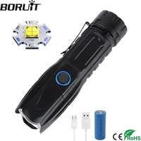 BORUiT W69 светодиодный тактический фонарь супер яркий XHP90 перезаряжаемый фонарь с зумом power Bank 26650 фонарь для кемпинга и охоты