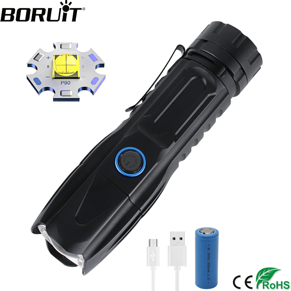 BORUiT W69 LED Tactical Flashlight Super Bright XHP90 Rechargeable Zoom Torch Power Bank 26650 Lantern Camping Hunting Lamp