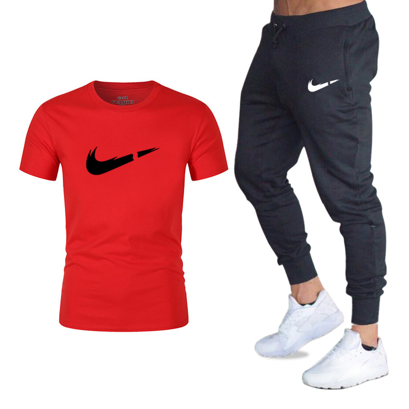 New Men's Suit Fashion Brand Men's T-shirt + Jogging Pants Sportswear Suit Hip Hop Cotton High-end Men's 2 Sets