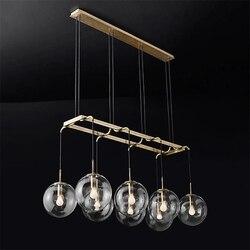 Amerykańska Retro RH Loft proste żyrandol Led złoty/czarny Metal szklane kule odcienie Wisząca lampa oprawy oświetleniowe