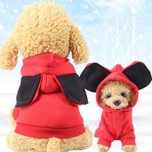 Sudadera con capucha y orejas grandes para perro, ropa para cachorro de perro, forro polar suave, cálida, sudadera de invierno, ropa de dibujos animados para perros pequeños