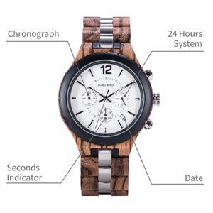 Image 5 - Bobo Vogel Mannen Horloges Luxe Elegante Houten Metalen Chronograph Auto Datum Horloge Relojes Hombre 2020 Vaderdag Dropshipping Gift