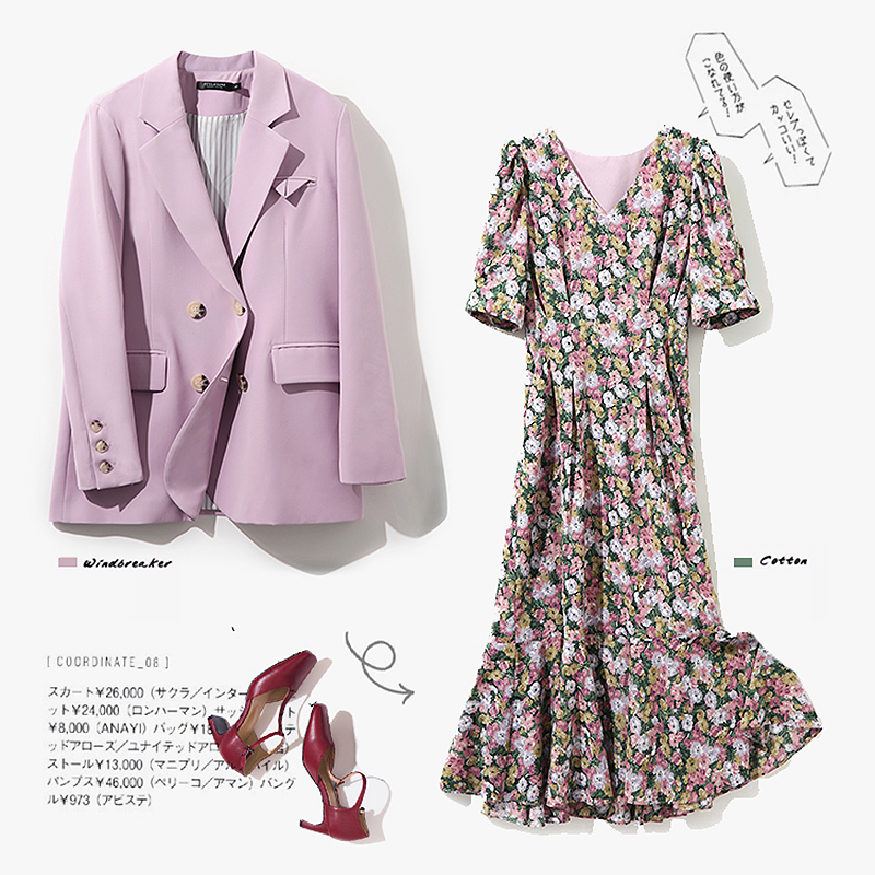 High Quality 2 Piece Set Women Double-Breasted Blazer Coat And V Neck Short Sleeve Floral Print Dress Vintage Clothes SL521