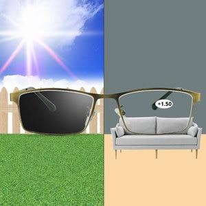 Image 1 - Photochromic Reading Glasses Chameleon Lens Blue Light Blocking Men Computer Glasses Sight Eyeglasses +1.0 1.5 2.0 2.5 3.0 3.5 4