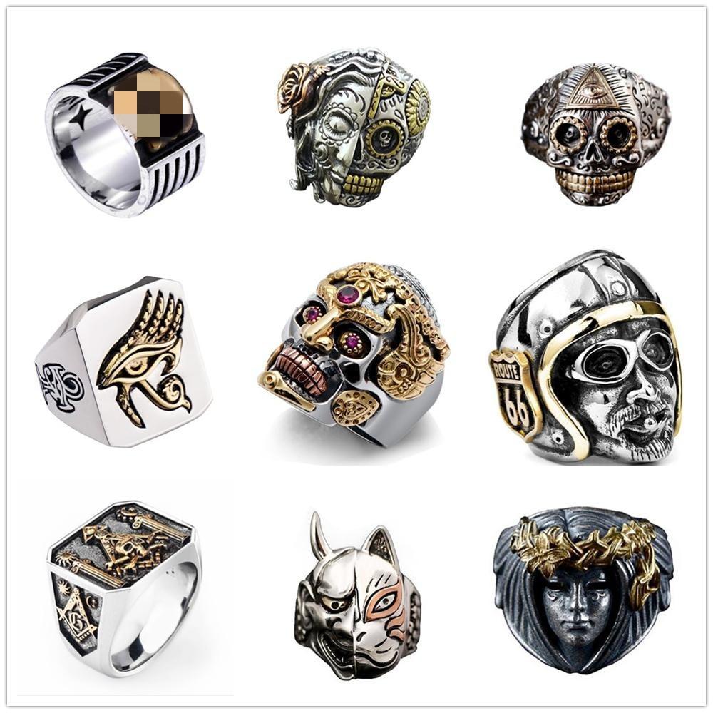 FDLK  Hip Hop Skull Animal Ring Men Accessories Vintage Rock Big Biker Signet Gothic Punk Ring Antique Tibetan Rings Jewelry