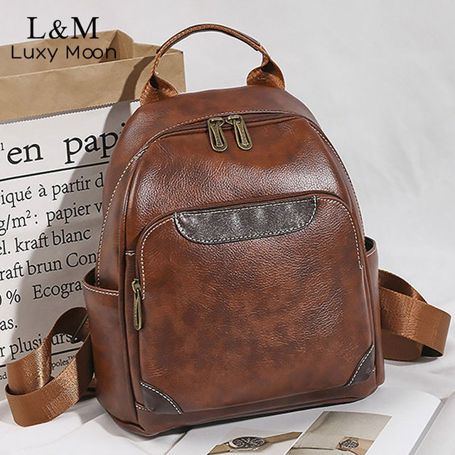 High Quality Women Backpack Vintage Backpacks For Teenage Girls Fashion Large School Bags Leather Black Mochila Feminina XA582H