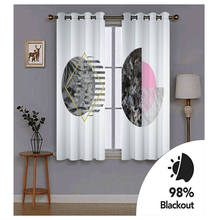 Modern Home Decoration Blackout 3D Curtain stereoscopic Black pattern on white background Solid color curtain