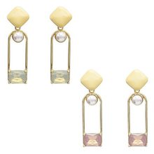 Korean Style Drop Earring Fashion Crystal Rhinestone Imitation Pearls Rectangular Geometric Earrings for Woman Jewelry graceful rhinestone geometric drop earrings
