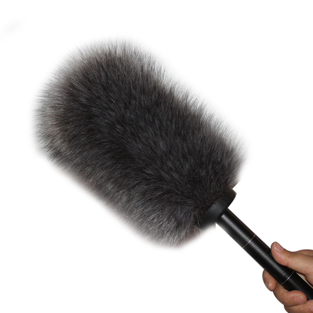 Reusable Interview Portable Detachable Windshield Universal Outdoor Stage Reporter Microphone Cover Artificial Fur Wireless