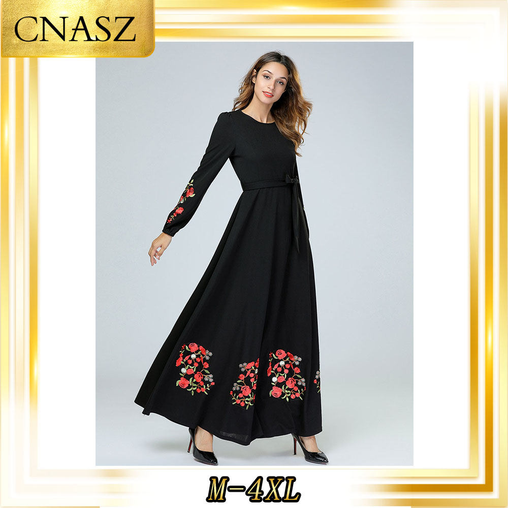 Muslim Dress Kaftan European And American Large Loose Embroidered Long-Sleeved Dresses