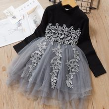 Autumn Casual Baby Girl Dresses Floral Polka Dot Dress long Sleeve Princess Dress Clothes Mesh Lace Kids Clothes Party Dresses цены онлайн