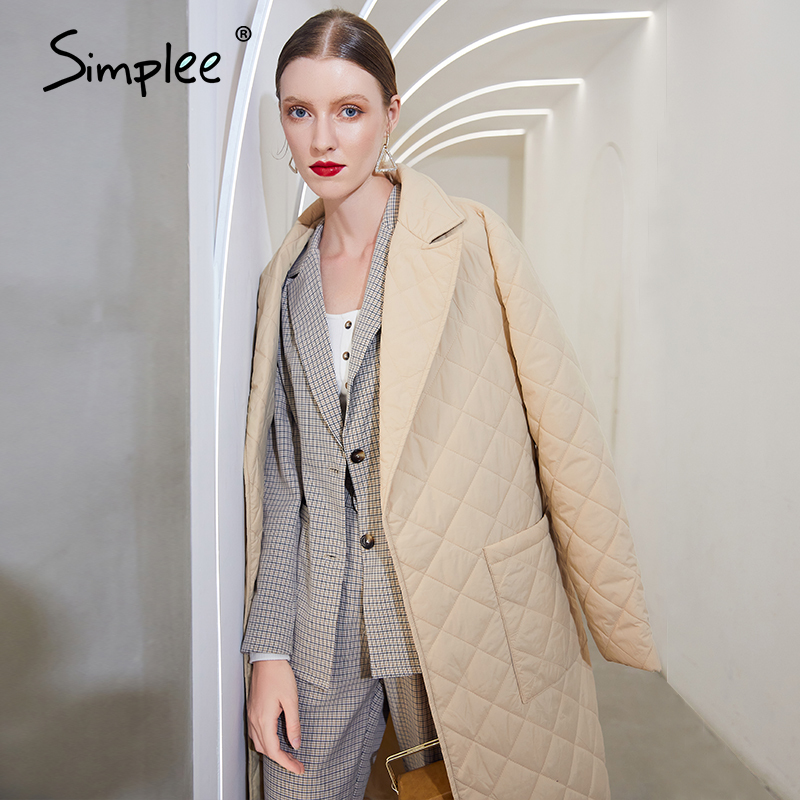 Simplee winter coat, long and straight with diamond pattern Casual belts for women  2