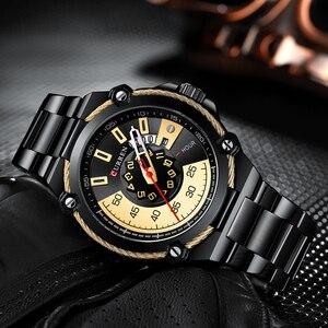 Image 3 - ブランド男性ステンレス鋼ビジネス腕時計currenクォーツ軍事腕時計ファッション因果男性時計自動日付レロジオhomem