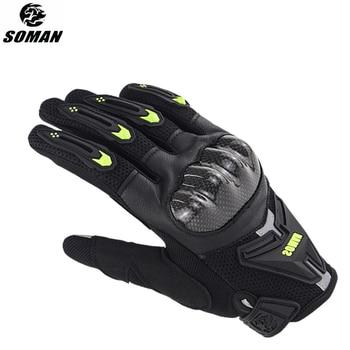 MenS Gloves High Quality Moto Carbon Fiber & Leather Guantes Cuero Motorcycle Street Gear Luva Bike Luvas Summer