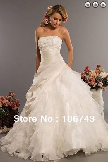 Free Shipping Ball 2016 Sale Bridal Gown Vestidos Long Floor-Length Organza White Dinner Plus Size Modesty Lace Wedding Dresses