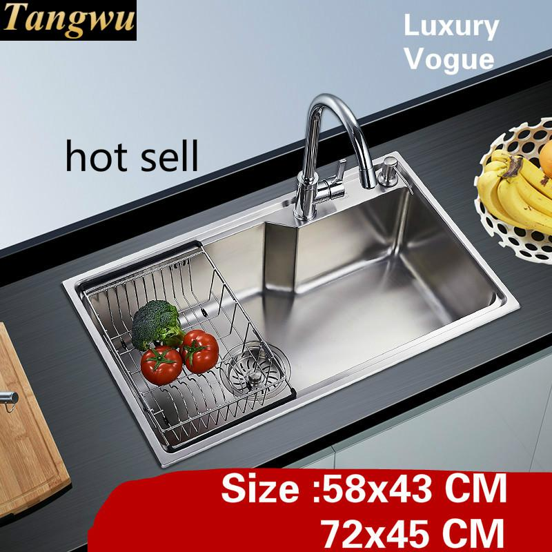 Free Shipping Apartment Big Kitchen Single Trough Sink Luxury Wash Vegetables 304 Stainless Steel 58x43/72x45 CM