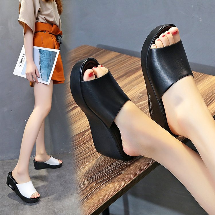 Casual Women Fish Mouth Platform High Heels Sandals Slope Sandals Slippers Simple Black White Shoes Wedge Leather Casual Shoes