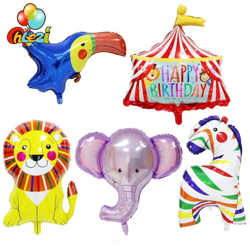 1 шт. цирковые животные на день рождения фольгированные воздушные шары слон лев Зебра птица Гелиевый шар детские украшения для дня рождения ...
