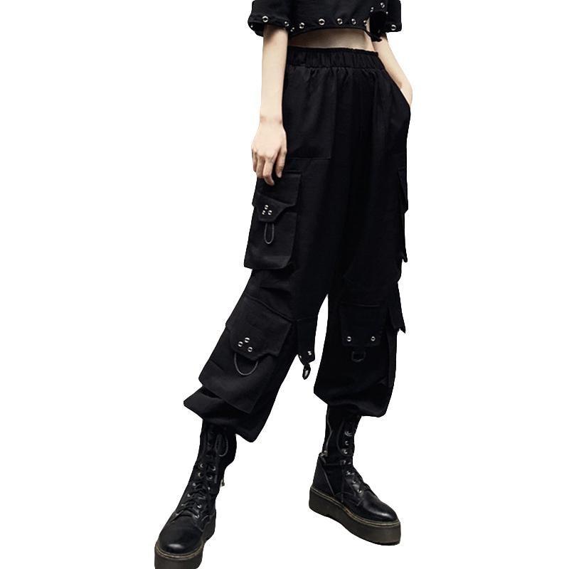 Fashion Hip Hop Long Pockcts Trousers Streetwear Black Casual Cargo Pants Capris Women High Waist Wide Leg Pants Loose