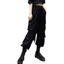 Fashion Hip Hop Long Pockcts Trousers Streetwear Black Casual Cargo Pants