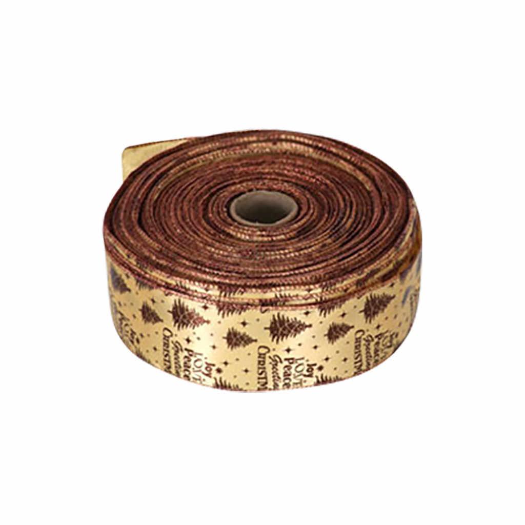 10CM חג המולד קישוטי סרט לקצץ סאטן מבהיקי זהב אדום איילים חגורה עץ דקור DIY קשת Bowknot מתנת גלישת רצועה 7P