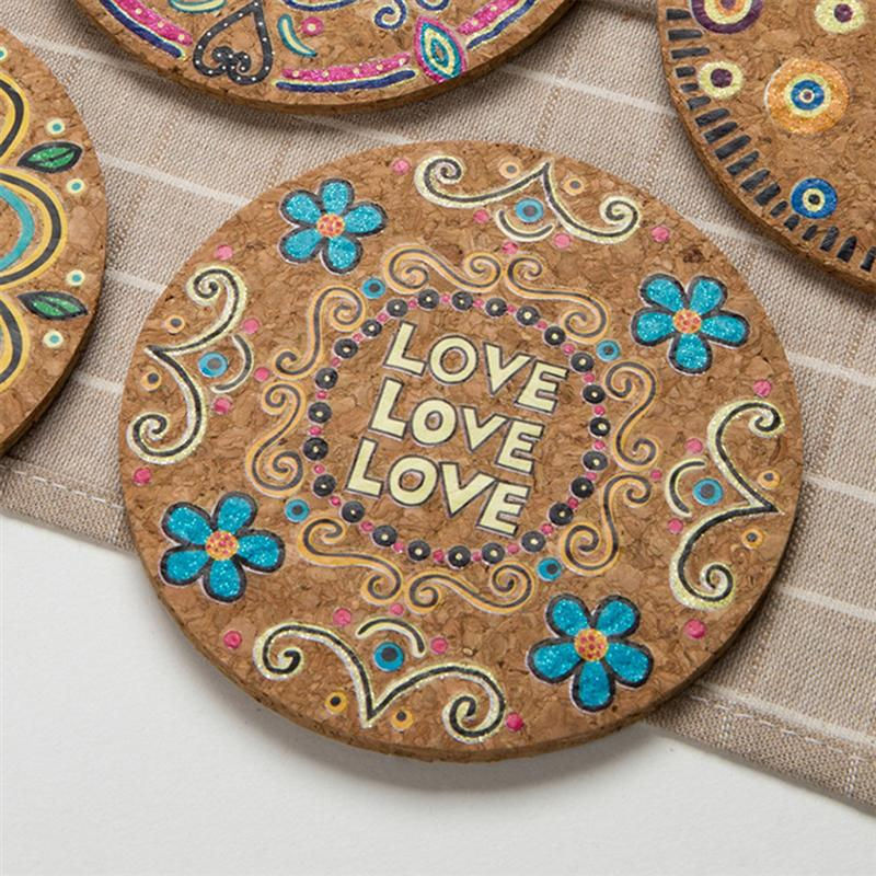 8pcs Heat Resistant Mats Round Natural Cork Coasters Tabletop Drink Coasters