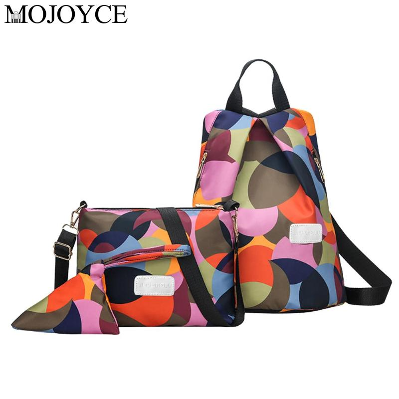 Women Casual Travel Anti Theft Oxford Backpack Female Schoolbag Teenager Girl Lady Crossbody Shoulder Bag Clutch Purse 3Pcs/Set