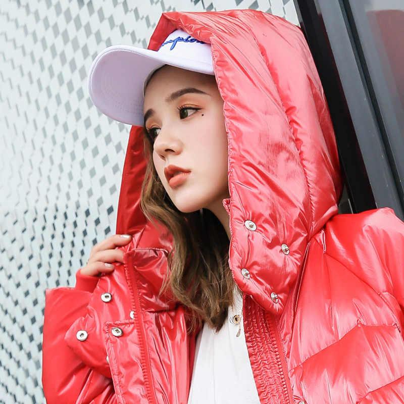 Новый женский длинный пуховик на утином пуху на осень и зиму с капюшоном, женское Теплое повседневное пуховое пальто на молнии, верхняя одежда, красный, белый, черный