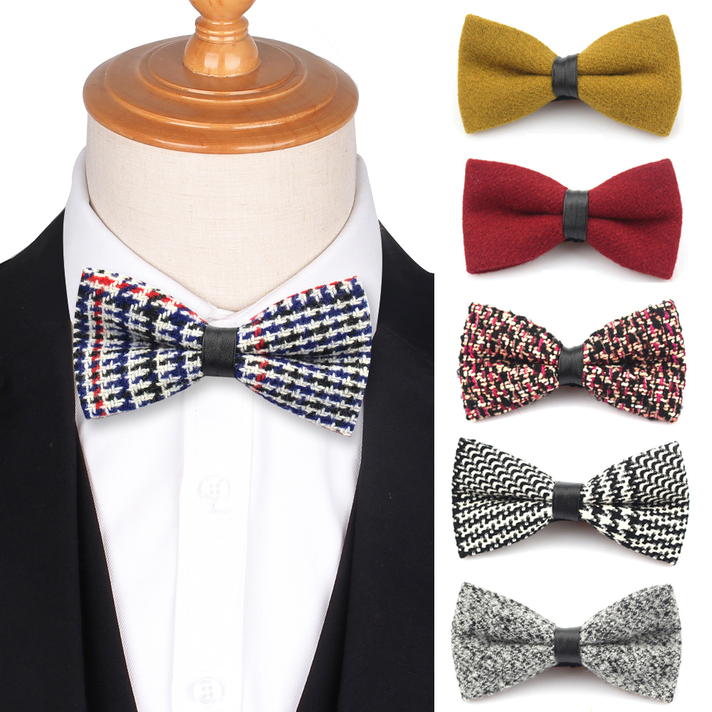 Wool Bow Tie For Men Women Butterfly Plaid Woolen Bowtie Girls Boys Bow Ties For Wedding Party Red Bowties Accessories Cravat