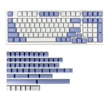 Chosfox PBT Double Shot Mechanical Keyboard Keycaps 152 Keys Cherry Profile MX Kailh Switch Violet/White Keycaps kit 68 98 104M