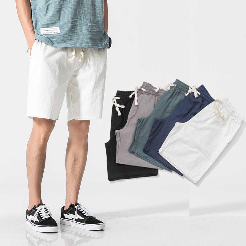 반바지 남성 여름 망 코튼 린넨 캐주얼 반바지 솔리드 편안한 Drawstring 소프트 짧은 통풍 남성 Streetwear 플러스 크기