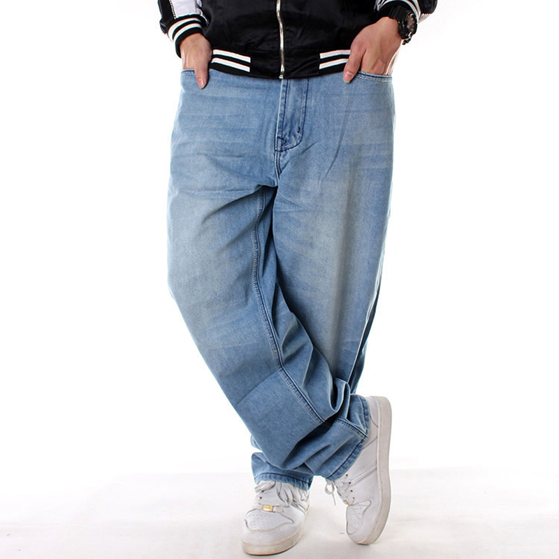 Men Wide Leg Denim Pants Hip Hop Light Blue Casual Jean Trousers Baggy Jeans For Rapper Skateboard Relaxed Jean Joggers 71808