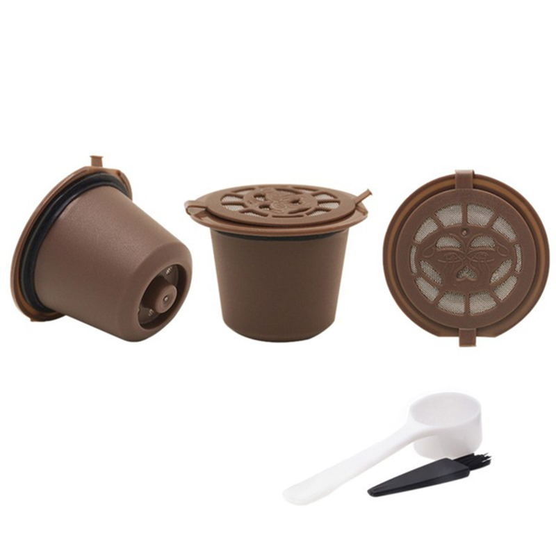 3PCS/set Reusable Refillable Nespresso Coffee Capsule Filter With Spoon Filter Pod And Brush Kitchen Dining Coffee Filter