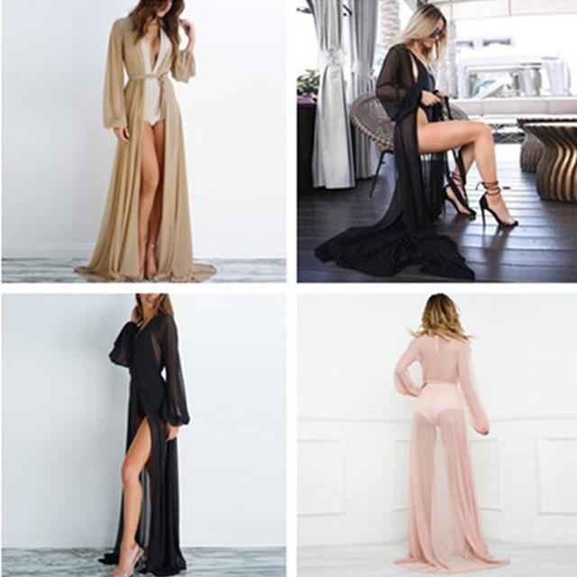 2020 Summer Brand Feminino Women Transparent Beach Maxi Dress Swimwear Bikini Cover-up Tunic Chiffon Female Bathing Suit 2