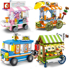 Sembo Isolati blocchi di Street View Amici Creatore Ice Cream Truck Negozio di Alimentari di Edifici Blocchi FAI DA TE mattoni Educativi Per Bambini Giocattoli Creatore