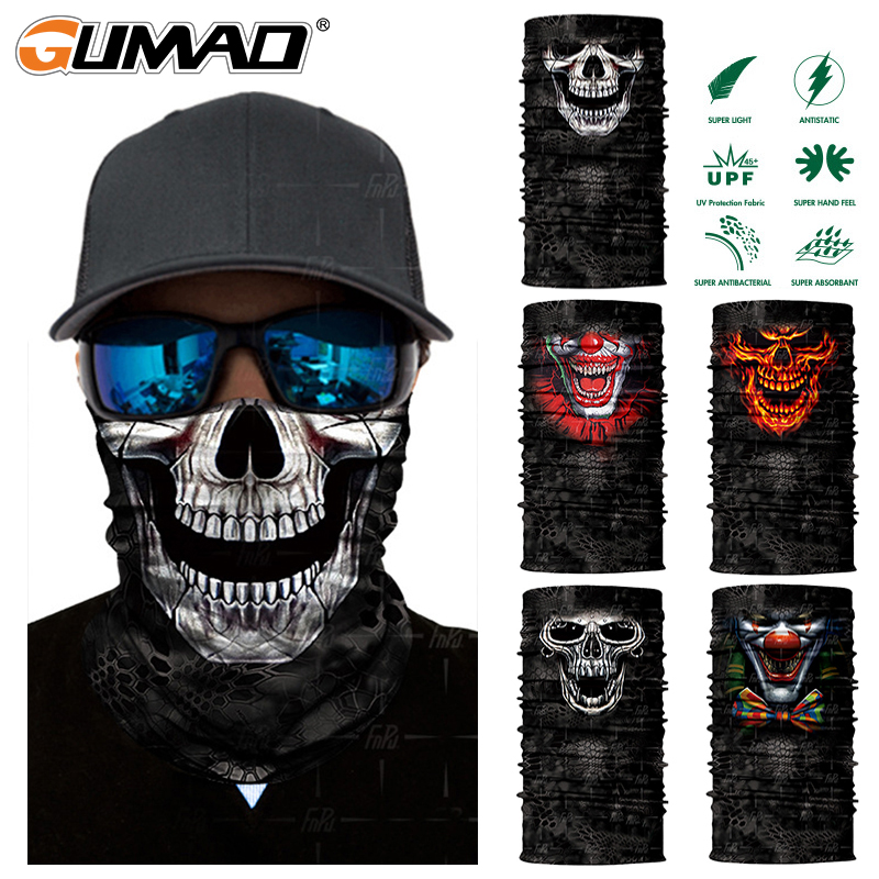 3D Skeleton Skull Seamless Magic Neck Gaiter Face Shield Fishing Cycling Fishing Bike Bandana Headband Tube Scarf Men Women Mask