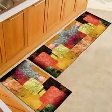Kitchen Carpet Modern Non-Slip Absorbent Entrance Doormat Graffiti Bath Mat Bathroom Hallway Area Rugs Living Room Floor Mat