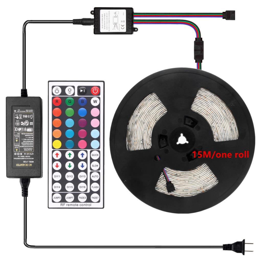 15 mètres 450Led LED rgb imperméable Bande Lumière 5050 30leds/M Flexible D'éclairage de Bande RF 44Key contrôleur