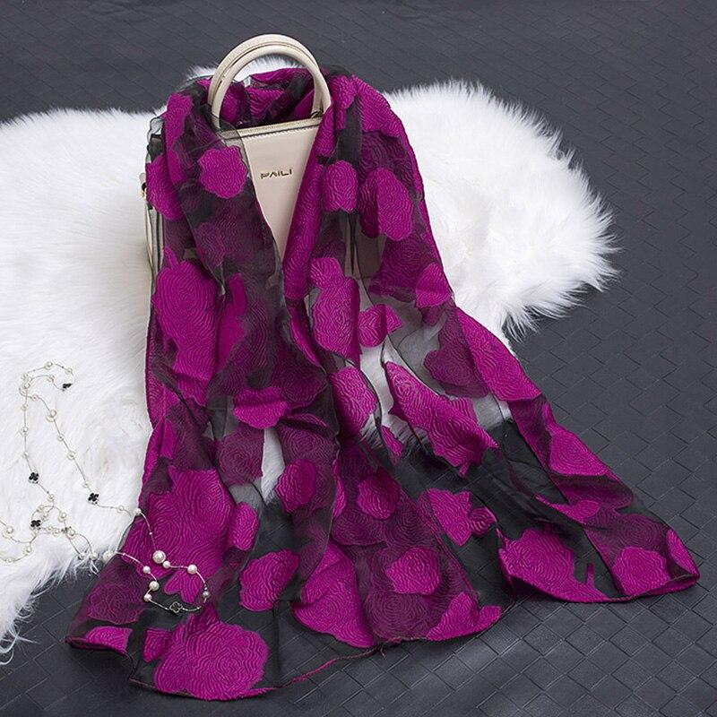 New Hot Bandana Silk Scarf Women Luxury Hijab Embroidery Long Scarf Black Lace Yarn Scarves Fashion Shawl Girl Accessories