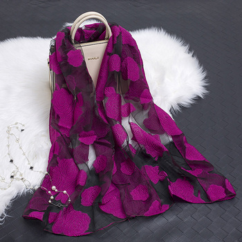 New Hot bandana Silk Scarf Women Luxury hijab Embroidery Long Scarf black Lace yarn Scarves Fashion Shawl Girl Accessories luxury chinese characters red silk scarves for women cashmere scarf winter spring long silk shawl wrap 175cm women accessories