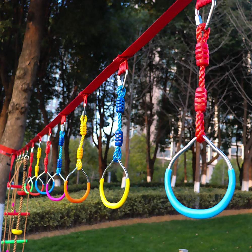 New 3pcs Colorful Swing Bar Rings Outdoor Gymnastic Ring Ninja Obstacle Course Kit Aerial Climbing Hanging Rings For Children