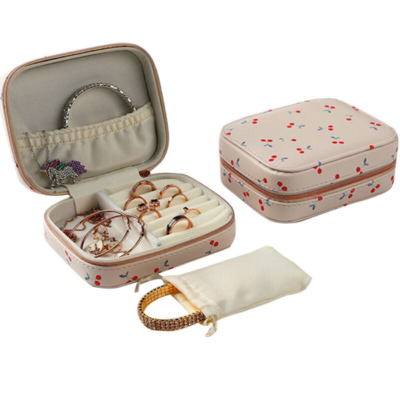 HOT Stud Earrings Rings Jewelry Box Portable Storage Organizer Zipper Portable Women Useful Makeup Display Travel Case Gift
