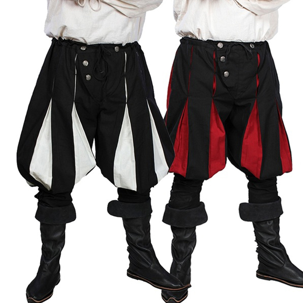 Cosplay Medieval Costume For Men Western Style Spliced Loose Pant Gothic Fashion Pant Men Medieval Loose Stage Costume Pant