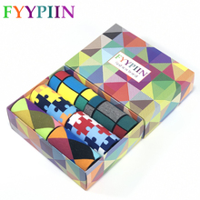 2019 happy socks new popular Christmas gift box cotton casual classic plaid mens