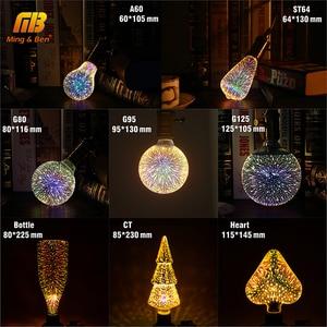 Image 2 - Diodo emissor de luz 3d estereoscópico novidade lâmpada 85 220 v e27 fogos de artifício prata chapeado interior decoração de natal lâmpada a60 st64 g80 g95g125