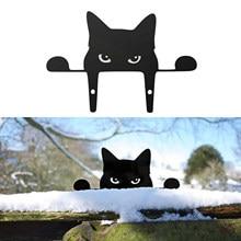 Hayvanlar kedi çit Peeker sonrası askıları heykel bahçe pencere heykeli asılı çit kedi Peeker sanat açık çim bahçe dekor